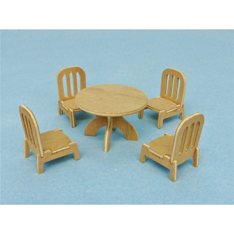 table ronde miniature avec chaises pour poup es 1 12 me. Black Bedroom Furniture Sets. Home Design Ideas