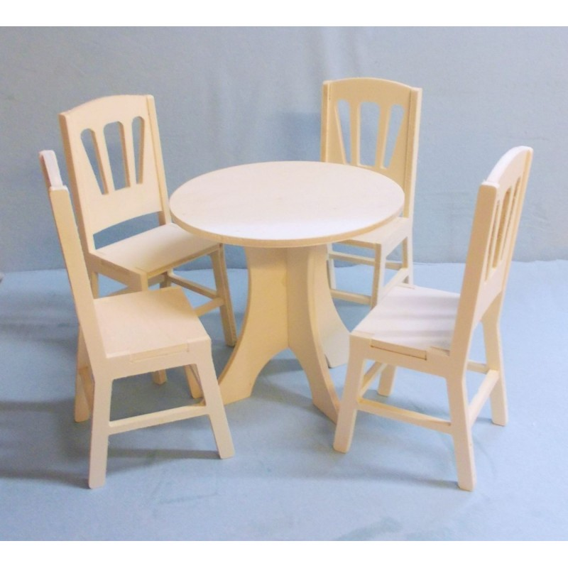 Table ronde miniature pour poup e mannequin ex barbies - Ensemble table ronde 4 chaises ...