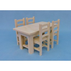 Pack rustique  table + 4 chaises